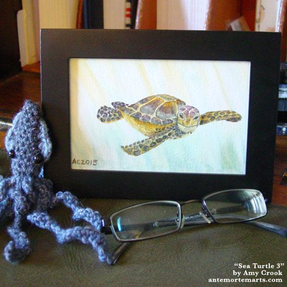 Sea Turtle 3, framed art by Amy Crook