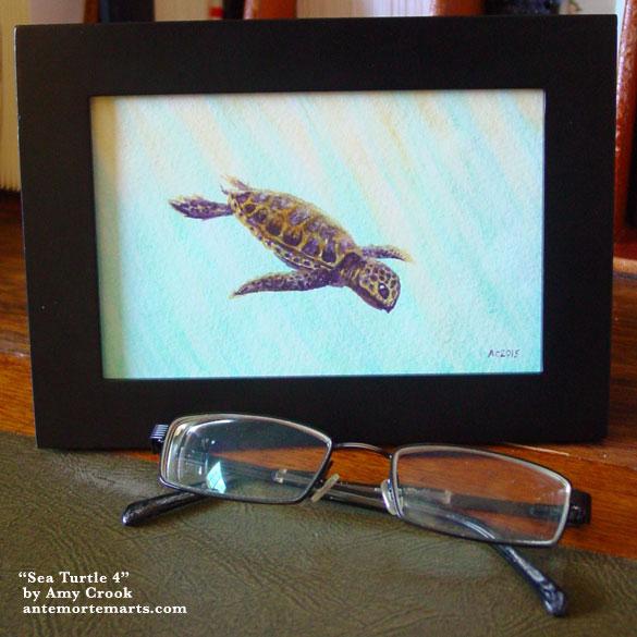 Sea Turtle 4, framed art by Amy Crook