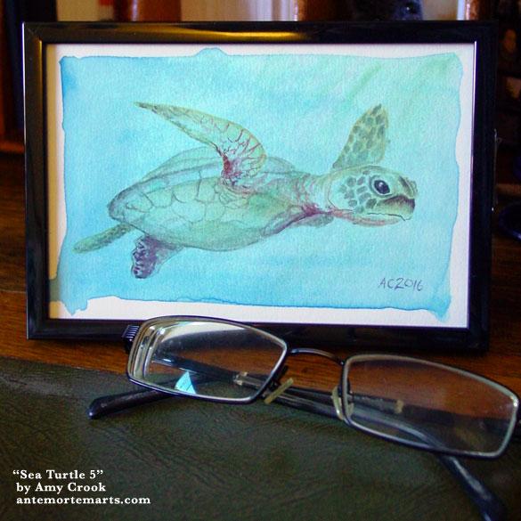 Sea Turtle 5, framed art by Amy Crook