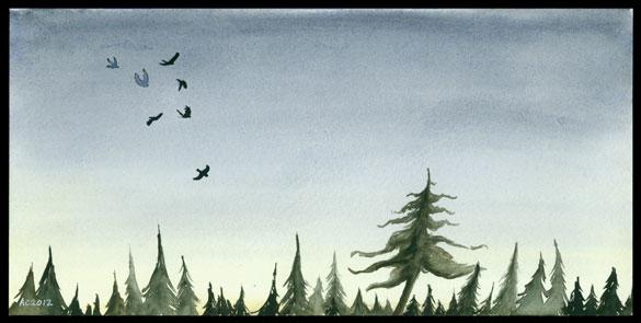 Seven for a Secret, watercolor landscape by Amy Crook