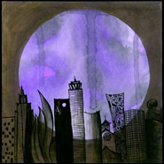 a purple moon with a strange black city half-transparent in the foreground, art by Amy Crook