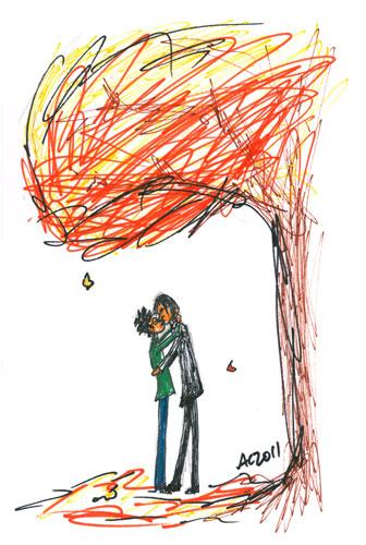 Autumn Smooch sharpie sketch by Amy Crook