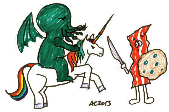 Sharpie Cthulhu on a Unicorn Fighting With Bacon Man by Amy Crook