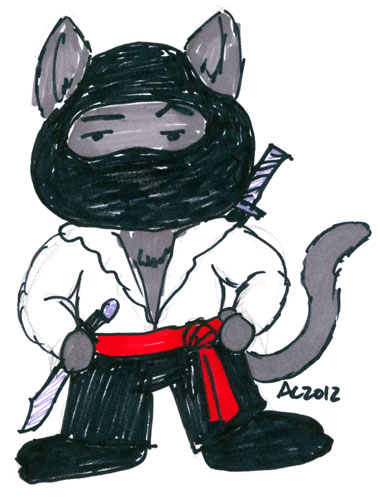 Sharpie Pirate Ninja Animal sketch by Amy Crook