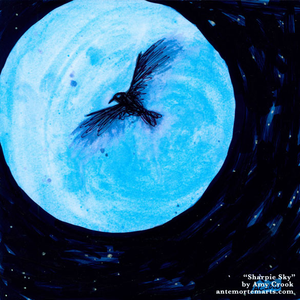 a marker-black sky around a blue metallic moon, with a scribbly crow, altered print by Amy Crook