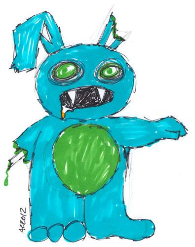 Zombie Vampire Bunny Sharpie sketch by Amy Crook