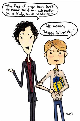 Sherlock Birthday cartoon by Amy Crook