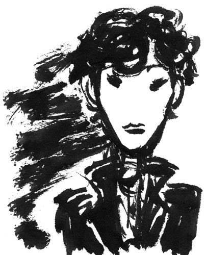 Sherlock brush and ink sketch by Amy Crook