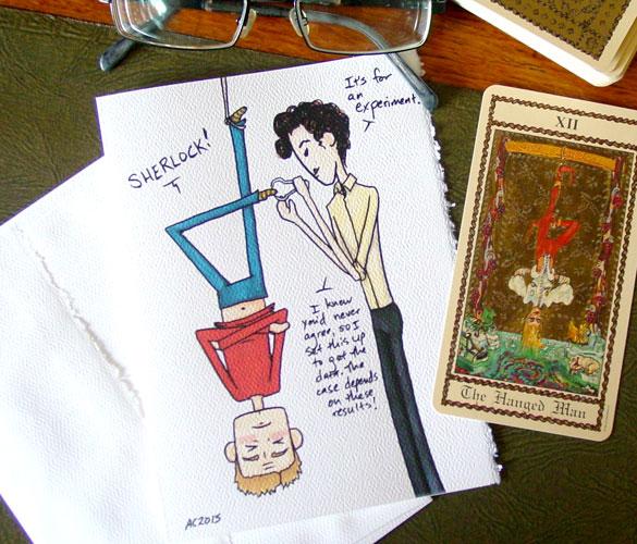 Hanged Man, a Sherlock parody card by Amy Crook on Etsy