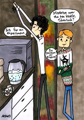 Mistletoe Experiment, a parody Sherlock comic by Amy Crook