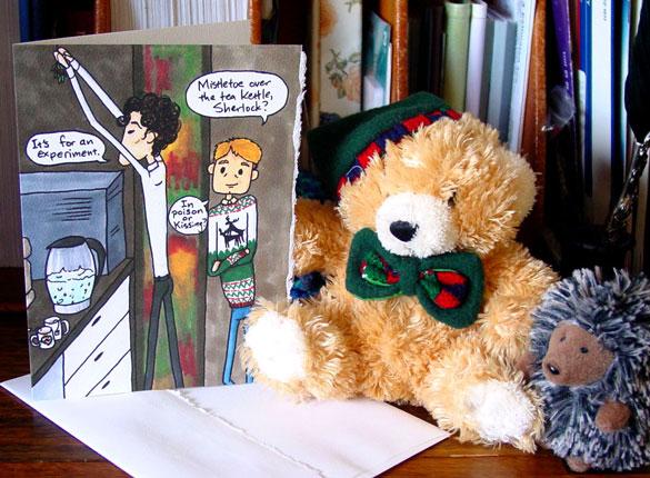Mistletoe Experiment Sherlock holiday card by Amy Crook on Etsy
