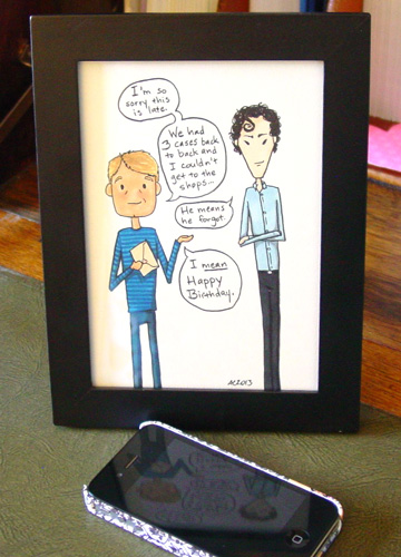He Means He Forgot, framed art by Amy Crook