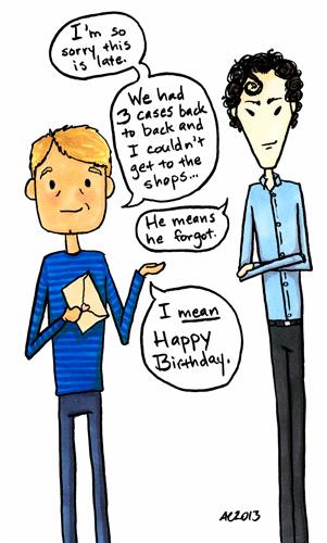 He Means He Forgot, a Sherlock fan cartoon by Amy Crook