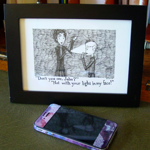 Sherlock comic, framed, by Amy Crook