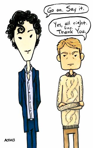 Say Thanks, John, parody Sherlock comic by Amy Crook