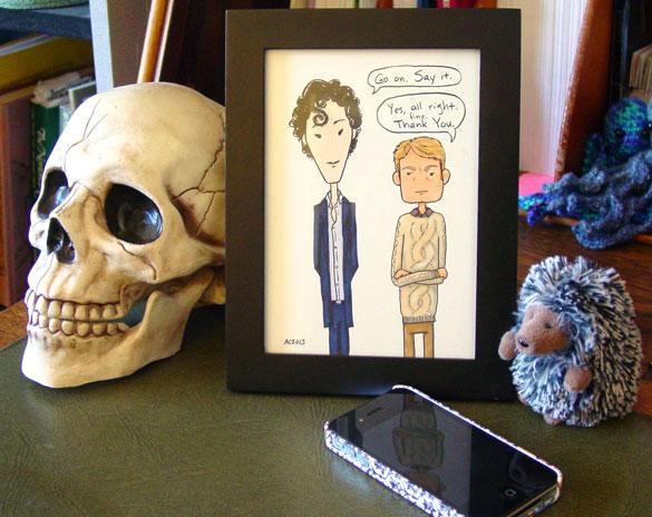 Say Thanks, John, framed art by Amy Crook