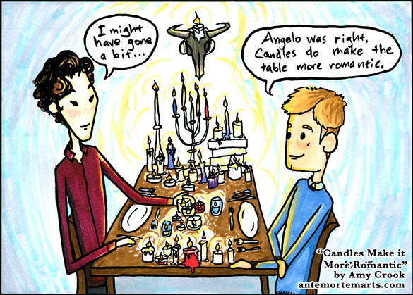 Candles Make it More Romantic, Sherlock fan art by Amy Crook