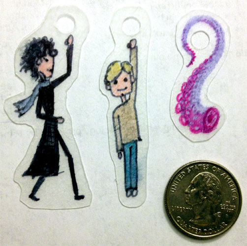 Sherlock, Dr. Watson and a Tentacle, Shrinky Dinks, unshrunk, by Amy Crook