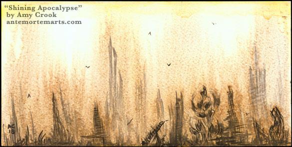 Shining Apocalypse, watercolor ruins by Amy Crook