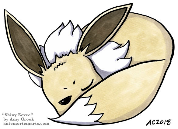 Shiny Eevee by Amy Crook, a drawing of a grumpy sleeping Eevee in shiny colors