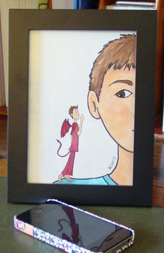 Shoulder Devil, framed art by Amy Crook