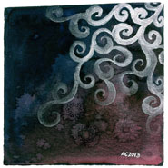 Silver Filigree, 5x5 watercolor on paper by Amy Crook