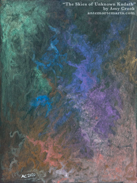 dreamy abstract art featuring clouds of iridescent color on black paper, by Amy Crook