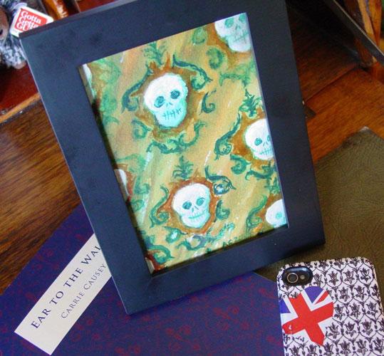 Skull Paper, framed art by Amy Crook