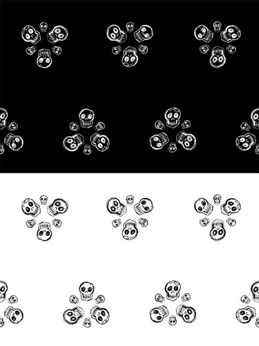 Scribble Goth Skull Florets fabric design in two colorways by Amy Crook