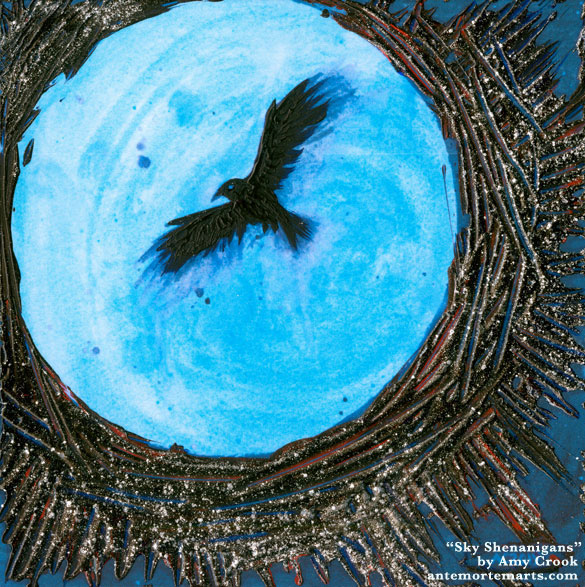a metallic print of a blue moon with textured acrylic paint applied to create a crow and corona, by Amy Crook
