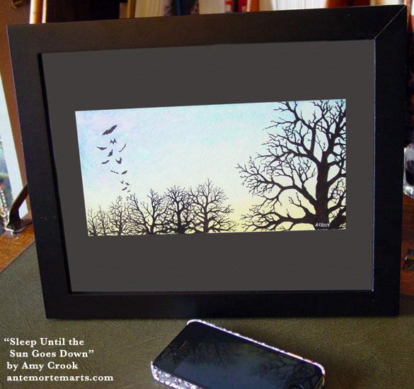 Sleep Until the Sun Goes Down, framed art by Amy Crook