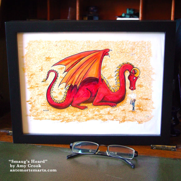 Smaug's Hoard, framed art by Amy Crook