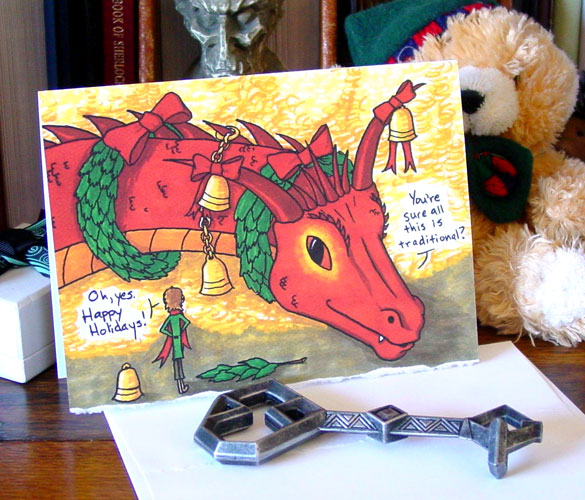 Deck the Smaug holiday card by Amy Crook at Etsy