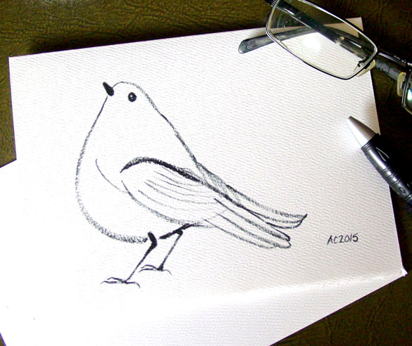 Songbird greeting card by Amy Crook at Etsy