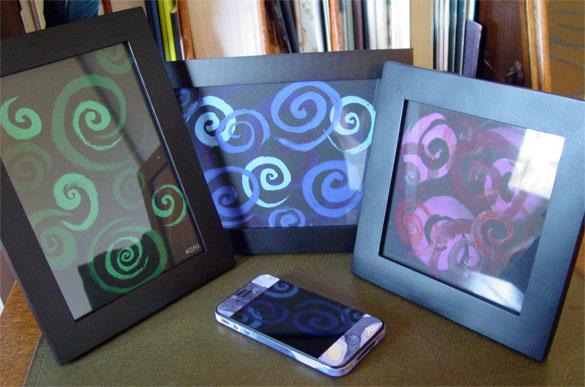 Spirals Trio, framed art by Amy Crook
