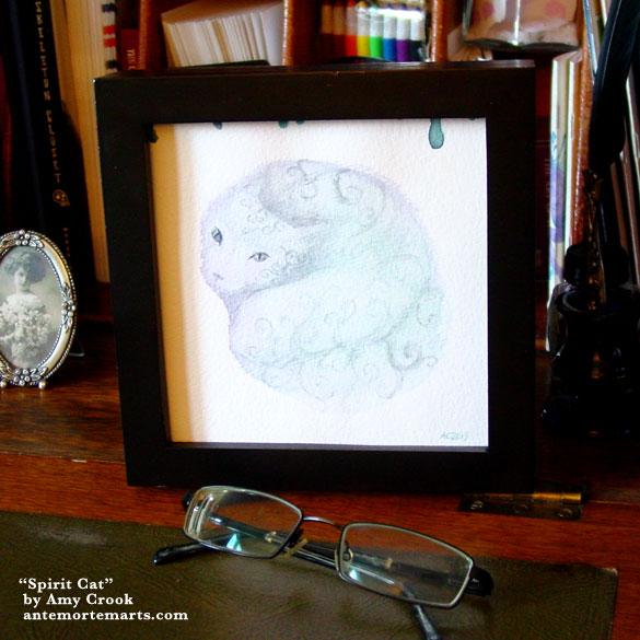 Spirit Cat, framed art by Amy Crook