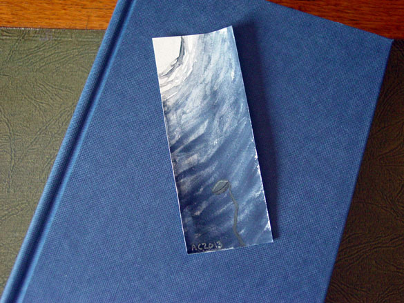 Midnight Sprout bookmark, with book, by Amy Crook