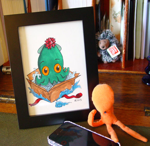 Thank You Squid, framed art by Amy Crook
