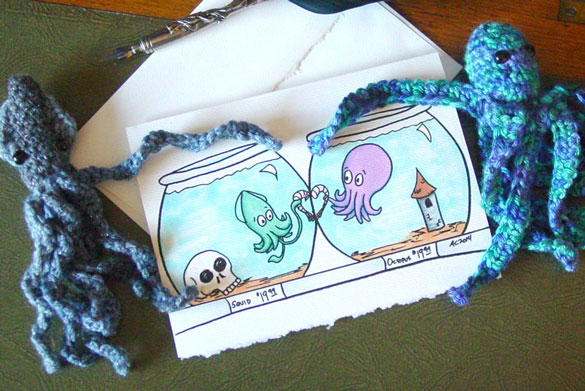 Shrimp-Crossed Lovers Valentine at Etsy by Amy Crook