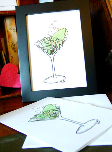 Squidtini, framed art by Amy Crook