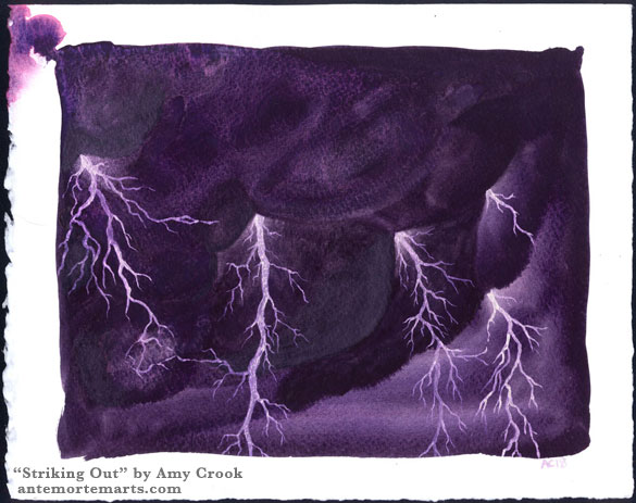 Striking Out by Amy Crook, a watercolor painting of shimmering purple lightning against dark, roiling violet thunderclouds