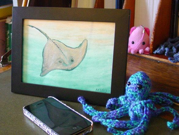 Sunlit Stingray, framed art by Amy Crook