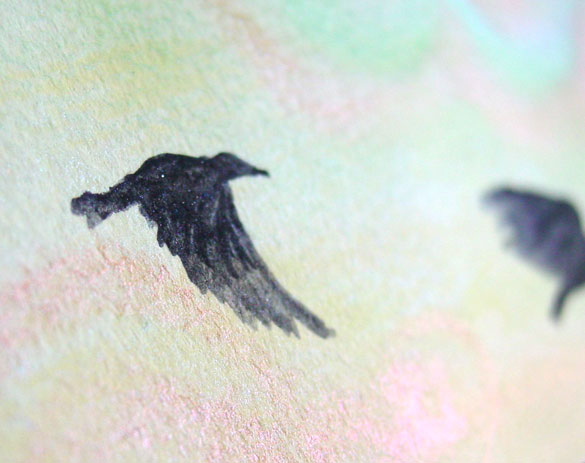 Sunrise Crows, detail, by Amy Crook
