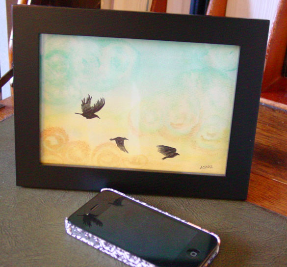 Sunrise Crows, framed art by Amy Crook