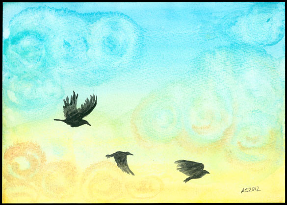 Sunrise Crows watercolor by Amy Crook