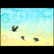 Sunrise Crows, 7x5 watercolor on paper by Amy Crook