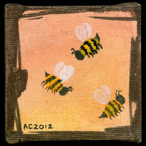 Sunset Bees, tiny watercolor by Amy Crook