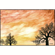 Sycamore Sunset, watercolor by Amy Crook in the Horizons series
