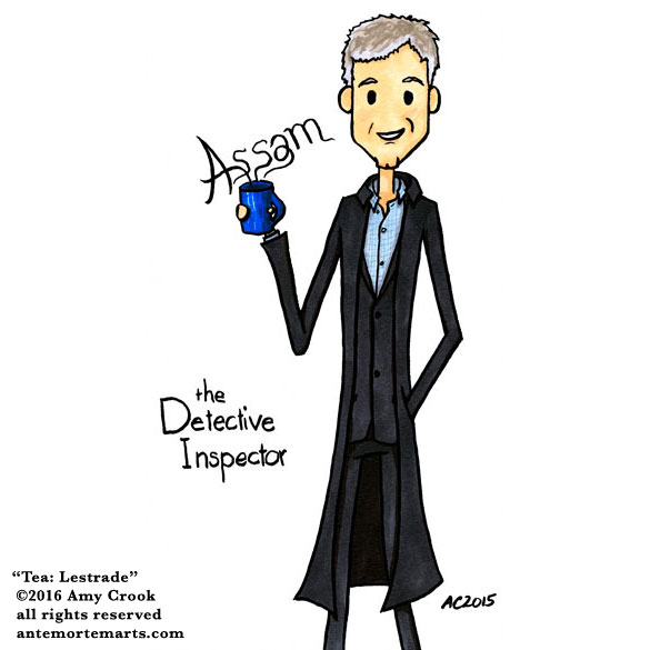 Tea: Lestrade, Sherlock parody art by Amy Crook