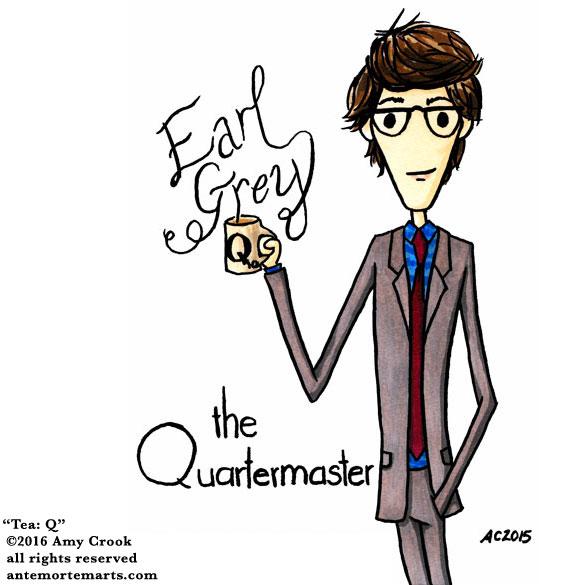 Tea: Q, commissioned fan art by Amy Crook